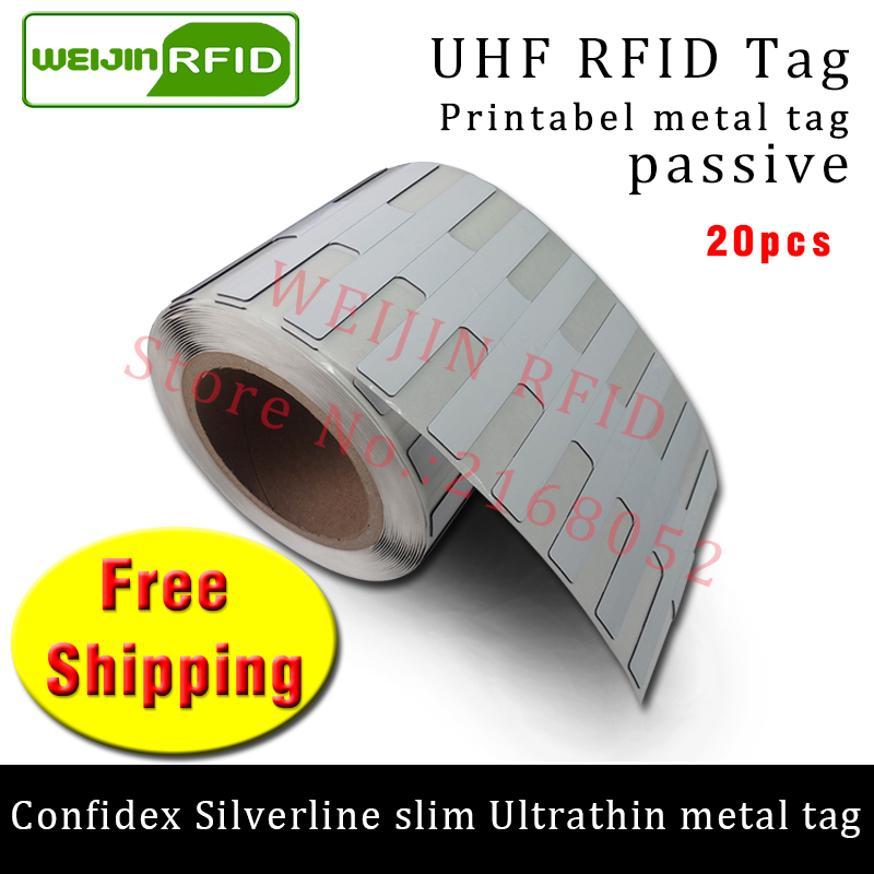 все цены на UHF RFID ultrathin metal tag confidex silverline slim 915m 868m Impinj M4QT EPC 20pcs free shipping big printable PET RFID label в интернете