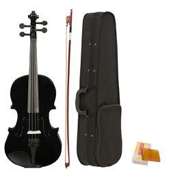 4/4 violino acústico tamanho completo preto com caso arco rosin