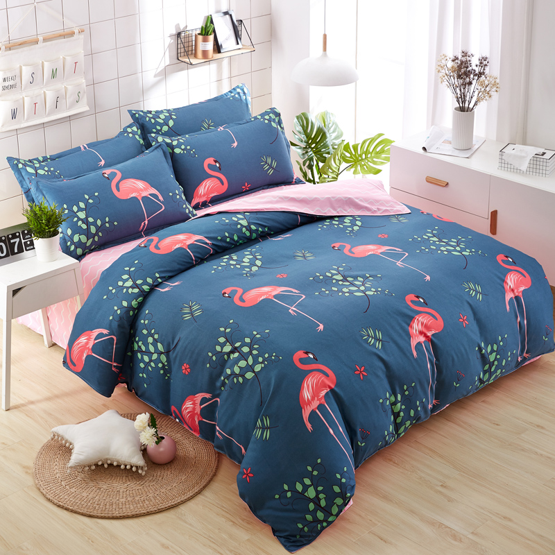 3 / 4pcs duvet cover set AB side bedding set bird flat sheet summer style bedclothes adult grey heart home bedding bed linen set