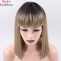 Mokogoddess 14inch Kanekalon Synthetic Hair Wigs Yaki Straight Blonde Wig Bangs Short Bob Wigs For Women