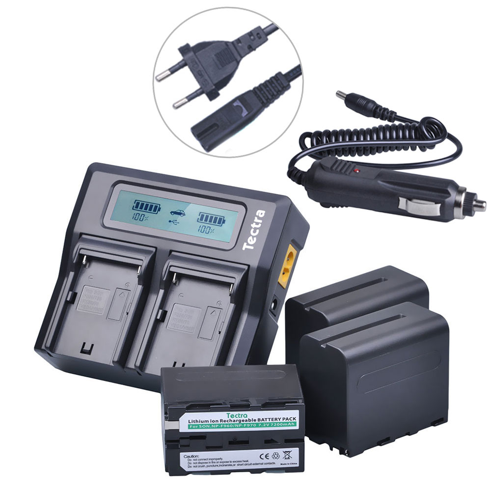 Tectra 3pcs NP-F970 NP-F960 Battery + LCD Rapid Dual Charger for Sony F960 F970 DCR-VX2100 HDR-AX2000 FX1 FX7 FX1000 durapro 4pcs np f970 np f960 npf960 npf970 battery lcd fast dual charger for sony hvr hd1000 v1j ccd trv26e dcr tr8000 plm a55