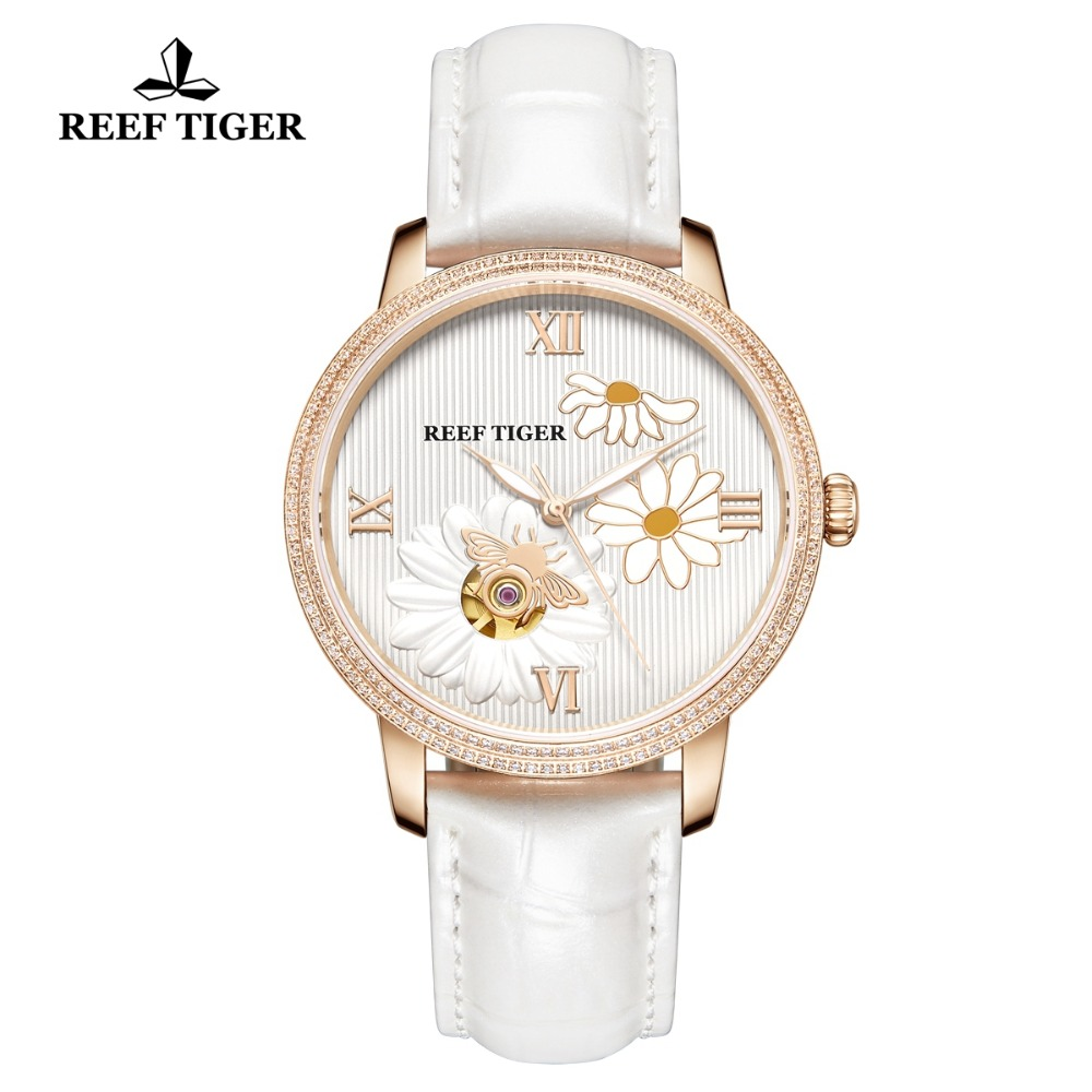 Reef Tiger/RT 2019 New Fashion Women Watch Automatic Watches Leather Strap Rose Gold Diamond Watch Relogio Feminino RGA1585