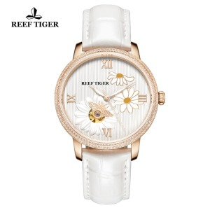 Image 4 - Reef Tiger/RT 2020 New Fashion Women Watch Automatic Watches Leather Strap Rose Gold Diamond Watch Relogio Feminino RGA1585