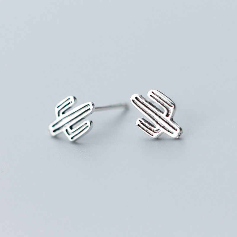 925 Sterling Silver Vintage Design Cactus Stud Earrings For Women Girls Kids Wedding Jewelry Female Brinco oorbellen eh499