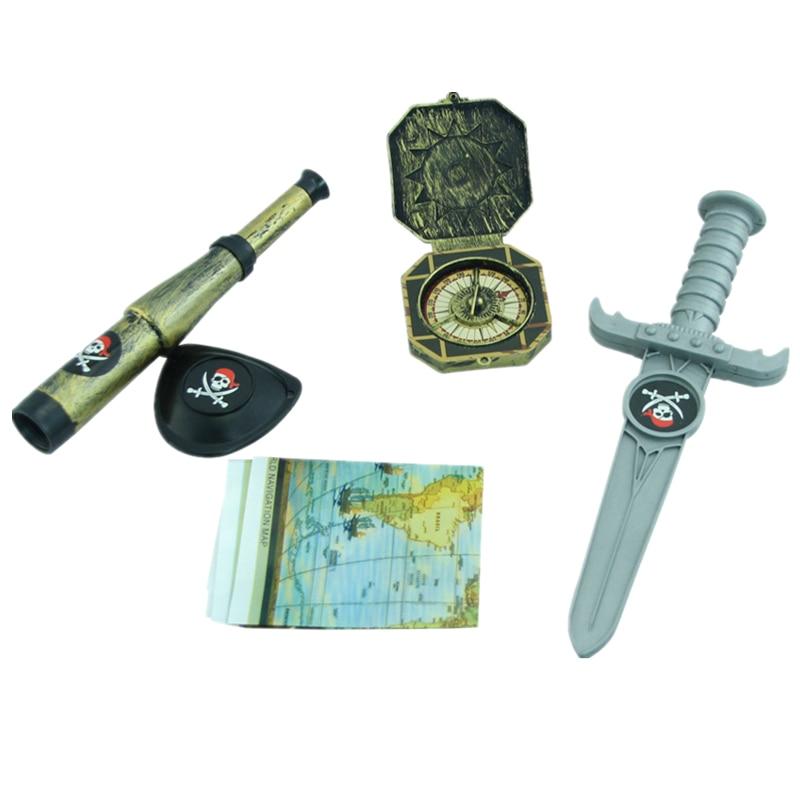 Costumes & Accessories Pirate Captain Jack Cosplay Weapon Sword Knife Gun Blinder Telescope Big Beard Flag Kid Toys Halloween Cosplay Accessories