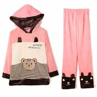 Winter Women Pyjamas Sets Thick Warm Coral Velvet Suit Flannel Long Sleeve Female Cartoon Animal Pants