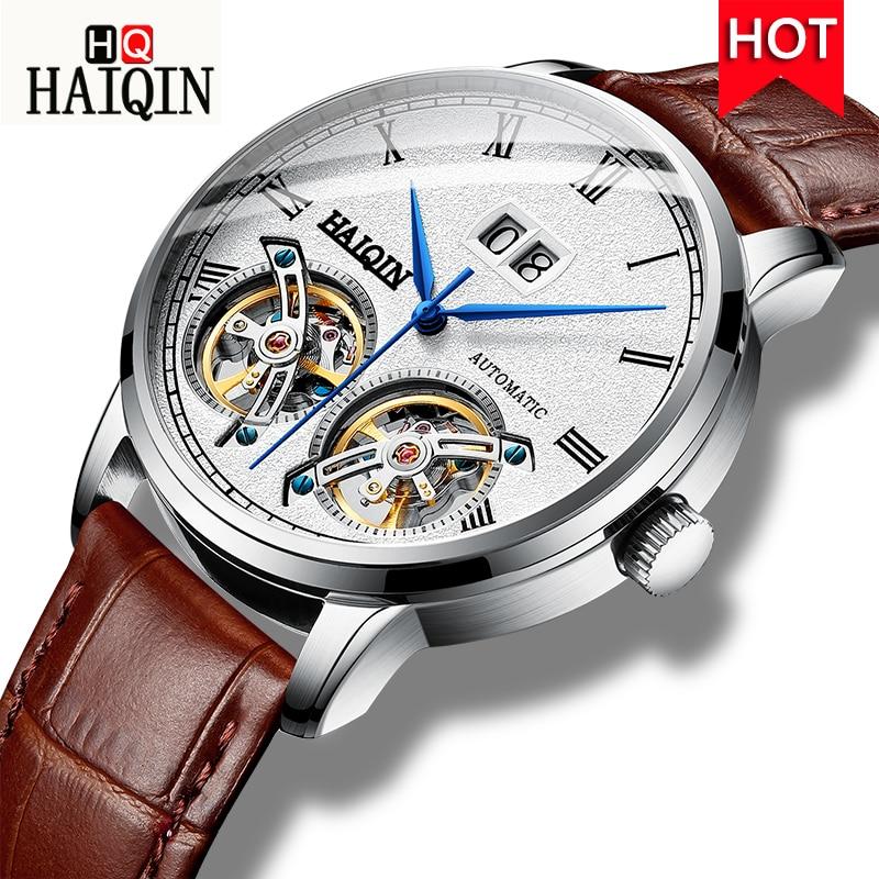 HAIQIN montres homme 2019 nouvelle marque de luxe affaires mode/Sports/machines/automatique/étanche/cuir/montre hommes