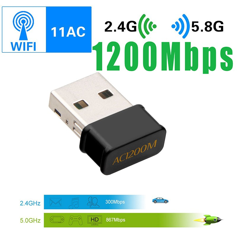 2.4G & 5G Dual Bands Network Card Mini Wifi USB Adapter Receiver 1200 Mbps For Window Mac Os Linux With CD