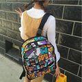 Envío libre 2016 Mochilas de Lona School Student Bolsa de Graffiti Impresión de la Historieta Mochila bolsa de Ordenador Portátil Paquete de Viaje Bolsa Mochila Escolar