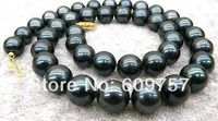 Hot Sell Noble SHIPPING Natural Jewelry 9 10mm Black Tahitian Cultured Pearl Necklace 18 AAAA