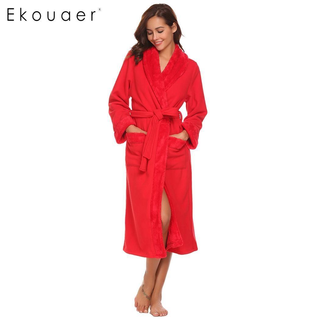 Ekouaer Women Soft Plush Fleece Long Robe Spa Bathrobe Front Open Robe Bride Bridesmaid Robes Loungewear Winter Warm Night Gown