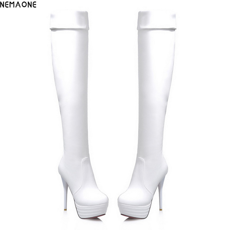 NEMAONE Size 34-43 Hot Autumn Women Boots Sexy White High Heels Women Long Thigh High Boot Over the knee Platform Women Shoes nemaone plus size hot spring autumn women boots sexy high heel over the knee soft pu leather black white fashion high boots
