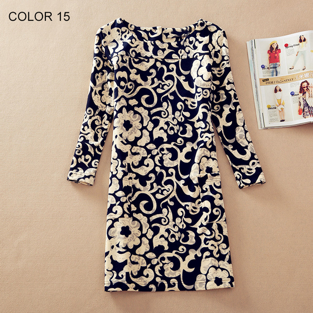 Flower Print Long Sleeved Women Dress 20 Designs