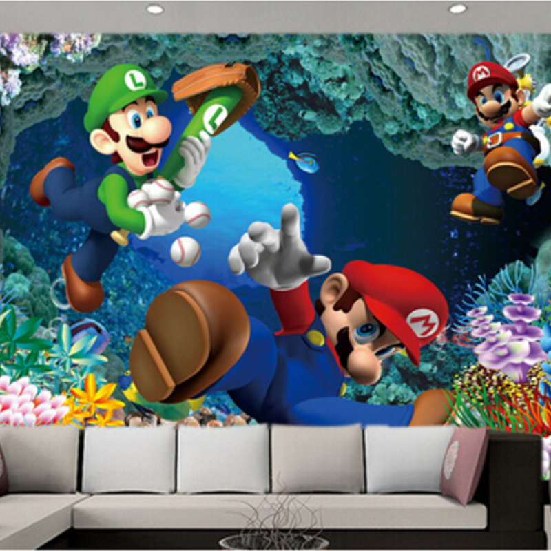 Online get cheap mario wall papers for Cheap mural wallpaper