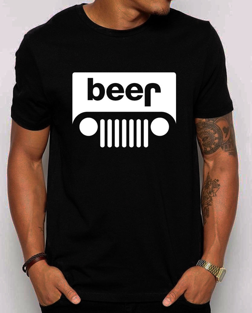 Summer Tshirt Streetwear Beer Jeep T Shirt Men Funny Jeep Owner Gift Tee Shirt Cotton Short Sleeve T-shirt Camisetas