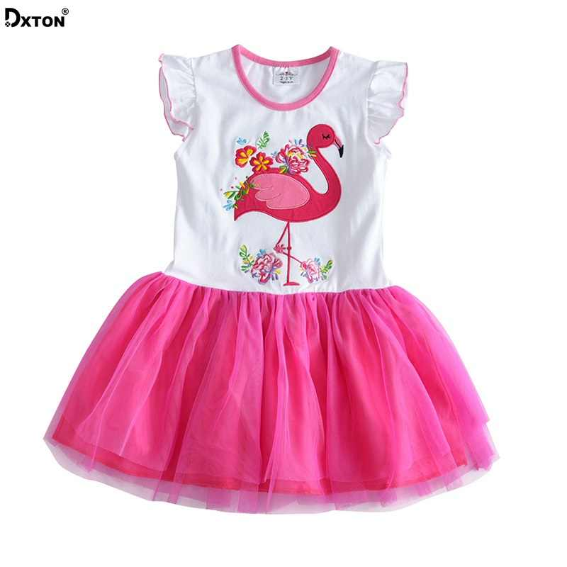 5a0872b0777c Dxton Princess Dress Girls Stripes Sleeveless Children Clothes Flamingo  Kids Girls Dresses Ball Gown Fille Robe