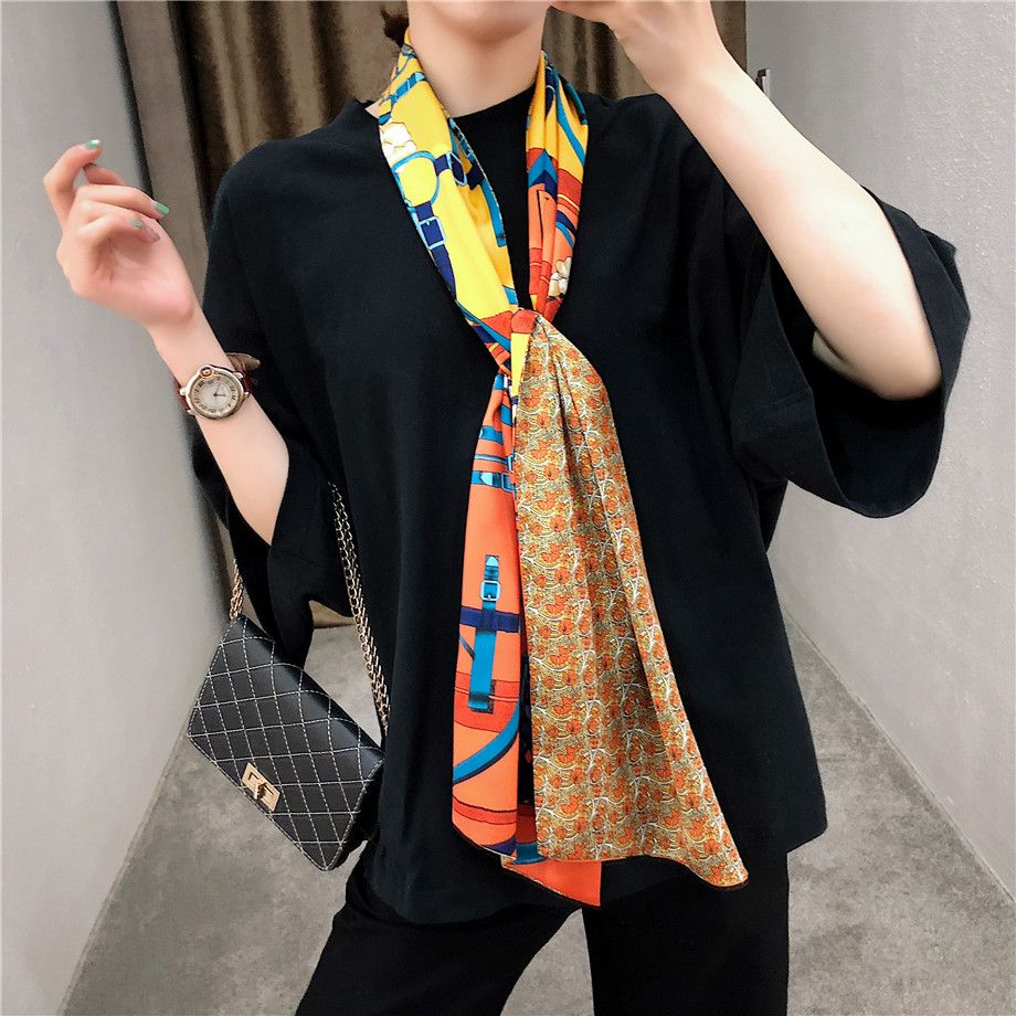 New Brand Design Double-deck Twill Belt Chain Women Scarf Fashion Neckerchief Silk Scarves For Ladies Head Scarf Handkerchief