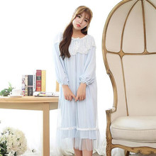New autumn Sleep Lounge Women Sleepwear Indoor Clothing Long Nightgowns sweet Lace Home Dress Nightdress With Mesh T665