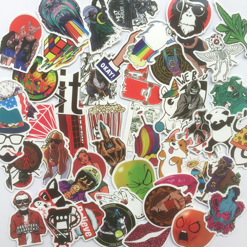 50 Pcs fresh fashion Pvc Waterproof  Stickers For Laptop Motorcycle Luggage Guitar Decal Funny Toy Sticker Home Decor