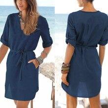 Black Khaki Grey Blue Women Summer Dress Bohemian Beach Sexy V Neck Irregular Lace Up Vestido Loose Chiffon Shirt Dresses Pocket