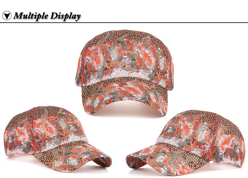Abstract Design Rhinestone Baseball Cap - Front and Side Angle Views