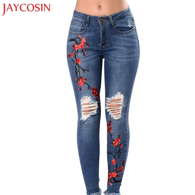 bb3a8dbcff1 JAYCOSIN Womens Skinny Slim Trousers Corner Embroidered Small Feet Elastic  Jeans z0809