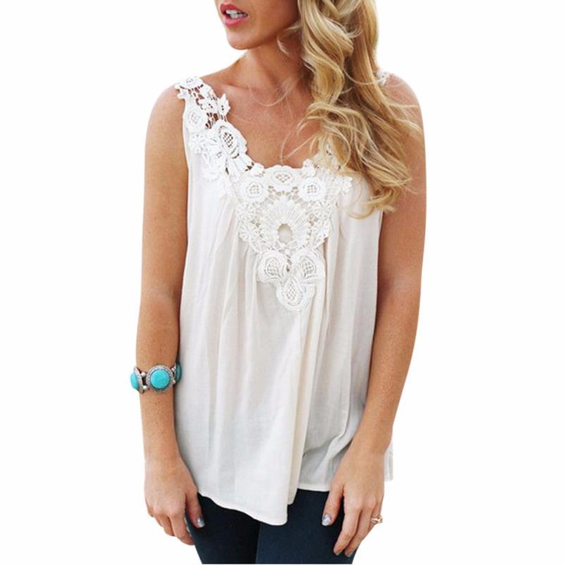 Black Friday VOT7 vestitiy Women White Vest Stitching Lace Sling Chiffon Shirt Clothes,Aug 10