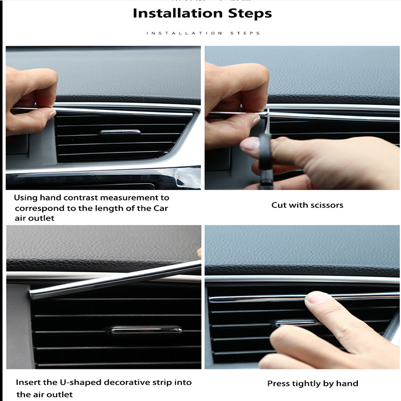 10X Car Air Conditioner Outlet Vent Grille Decor U Shape Molding Trim Strip Jk