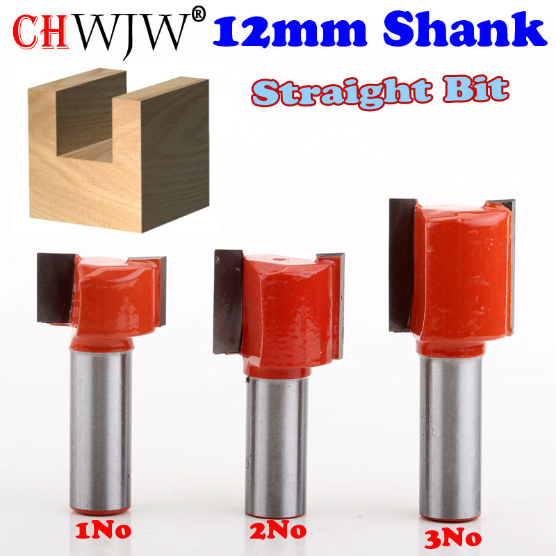3pcs 12mm Shank Straight/Dado Router Bit Double Flute Straight Bit Carbide Woodworking Straight Router Bit Set 1pc 8mm shank high quality straight dado router bit set diameter wood cutting tool