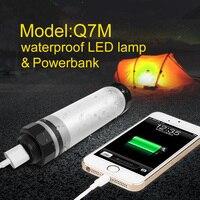 Q7M UYLED IP68 LEVOU Ao Ar Livre Luz de Acampamento Profissional Lâmpada 2600 mAh Power Bank Para O Telefone Portátil Lanternas À Prova D' Água Para Caminhadas