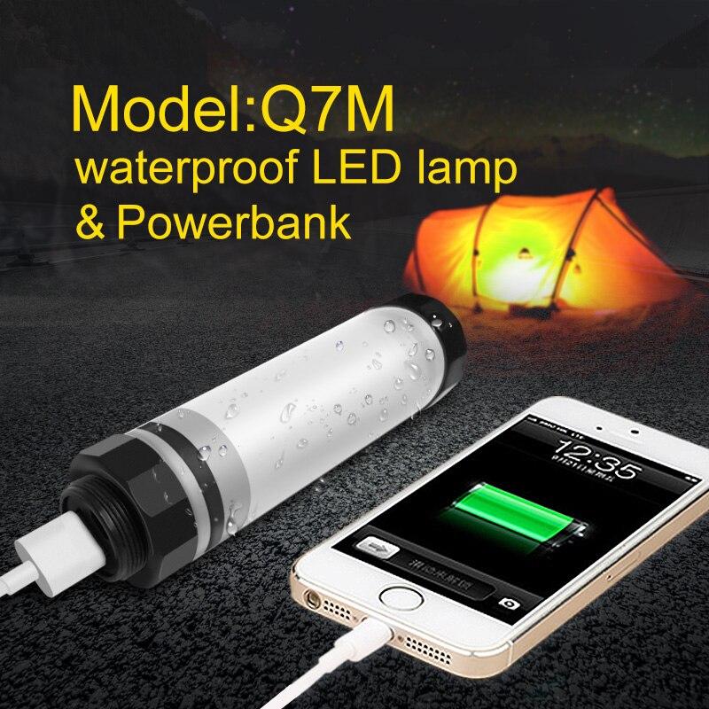 UYLED Q7M al aire libre LED Camping luz IP68 profesional lámpara impermeable 2600 mAh Banco de la energía para el teléfono portátil linternas para senderismo