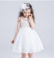 2018 Summer Toddler Princess Flower Dress For Weddings Baby Girl White Party Dress 3 12T Teenager Girl Children Clothes