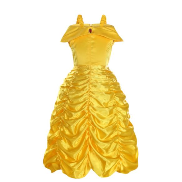 Girls Belle Dress up Princess Costume Children Off Shoulder Layered Yellow Party Ball Gown Carnival Kids Cosplay Dress