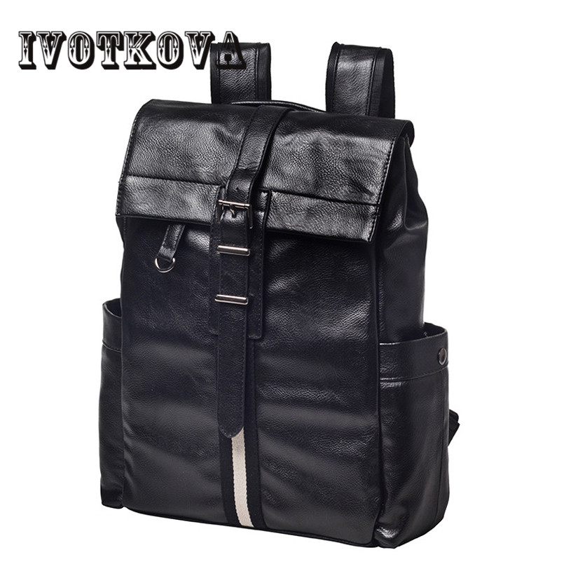 IVOTKOVA New Arrival 2017 Male Functional bags Fashion Men backpack PU Leather backpack big capacity Men bags 2017 new arrival leather backpack casual bags