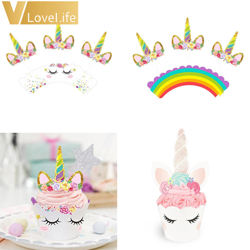 Unicorn cupcake decorations Cake Toppers X12 Girl/'s Birthday