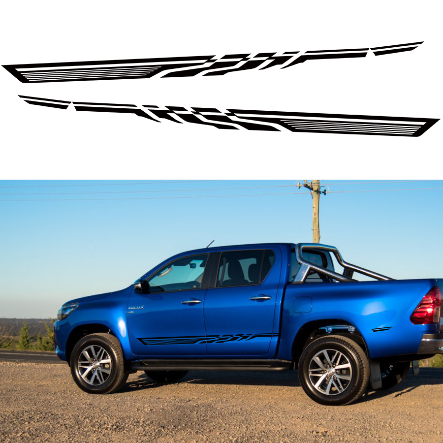 free shipping racing side stripe graphic Vinyl car sticker for TOYOTA HILUX First Impressions accessories decal 58cm x 25 38cm 2 x ice hockey player sports graphic one for each side car sticker for truck door side vinyl decal 8 colors