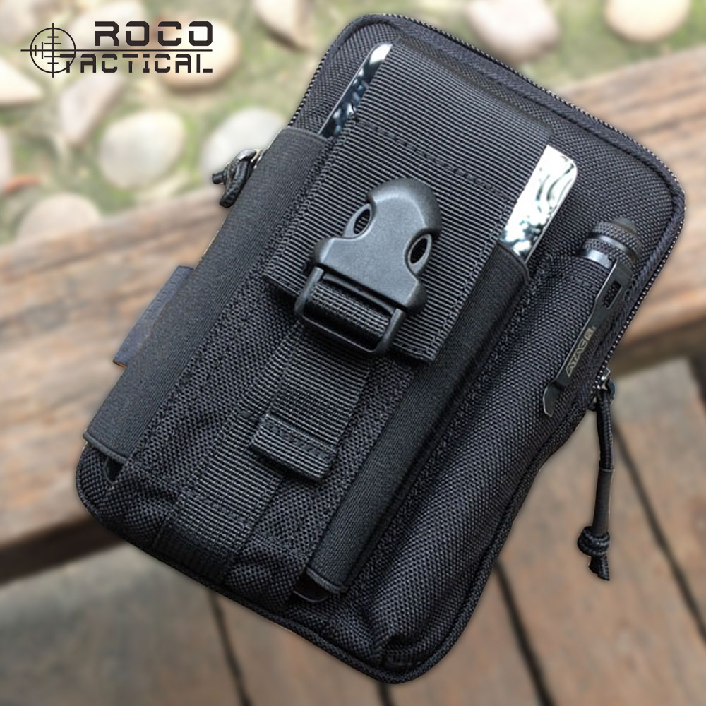 ROCOTACTICAL Molle Tactical Bag Military Sports Running Waist Bag Workable for Iphone 6 Plus Sumsang Hiking Pocket Organizer