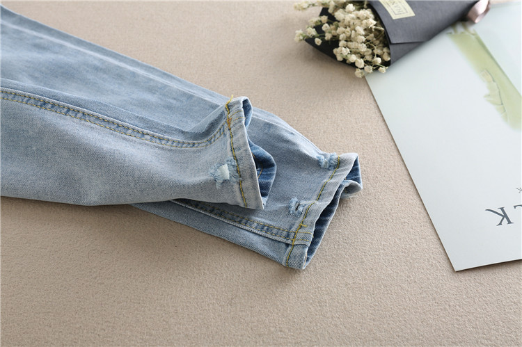 976# Embroidery Flower Denim Maternity Jeans Summer Light Blue Ripped Hole Pencil Pregnancy Trousers Clothes for Pregnant Women