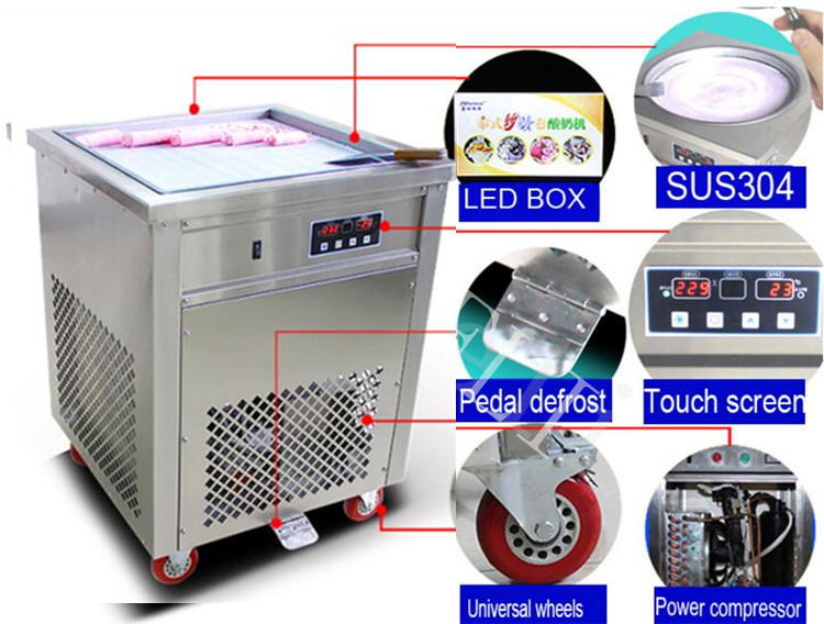 Free shipping hot sale 1800w CE flat pan fried ice cream machine SINGLE POT Stainless steel Ice Pan Machine roll ice cream maker ce fried ice cream machine stainless steel fried ice machine single round pan ice pan machine thai ice cream roll machine