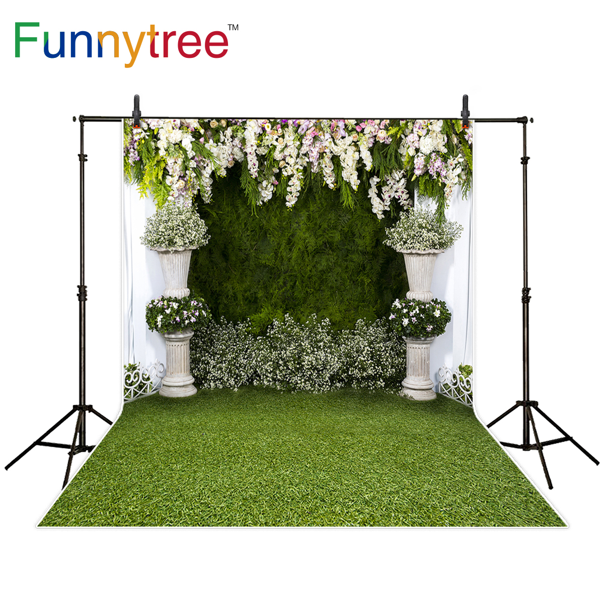 Funnytree background for photo studio wedding spring green grass flower door romantic backdrop photography photo shoot photocall allenjoy photography backdrop flower door wedding children painting colorful background photo studio photocall photo shoot