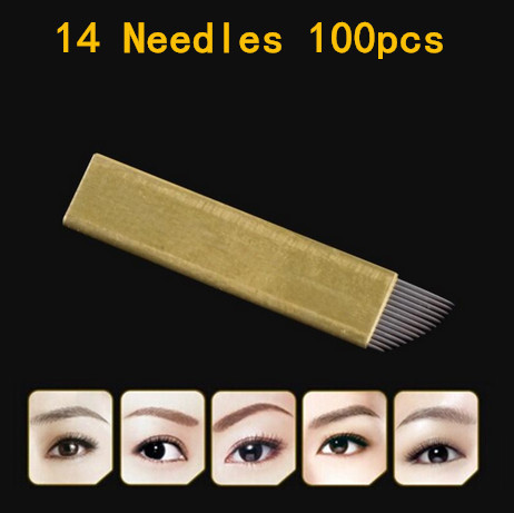Hot Selling Premium Copper PCD Permanent Makeup Eyebrow Tattoo Blades 14 Needles For Manual Eyebrow Tattoo Pen