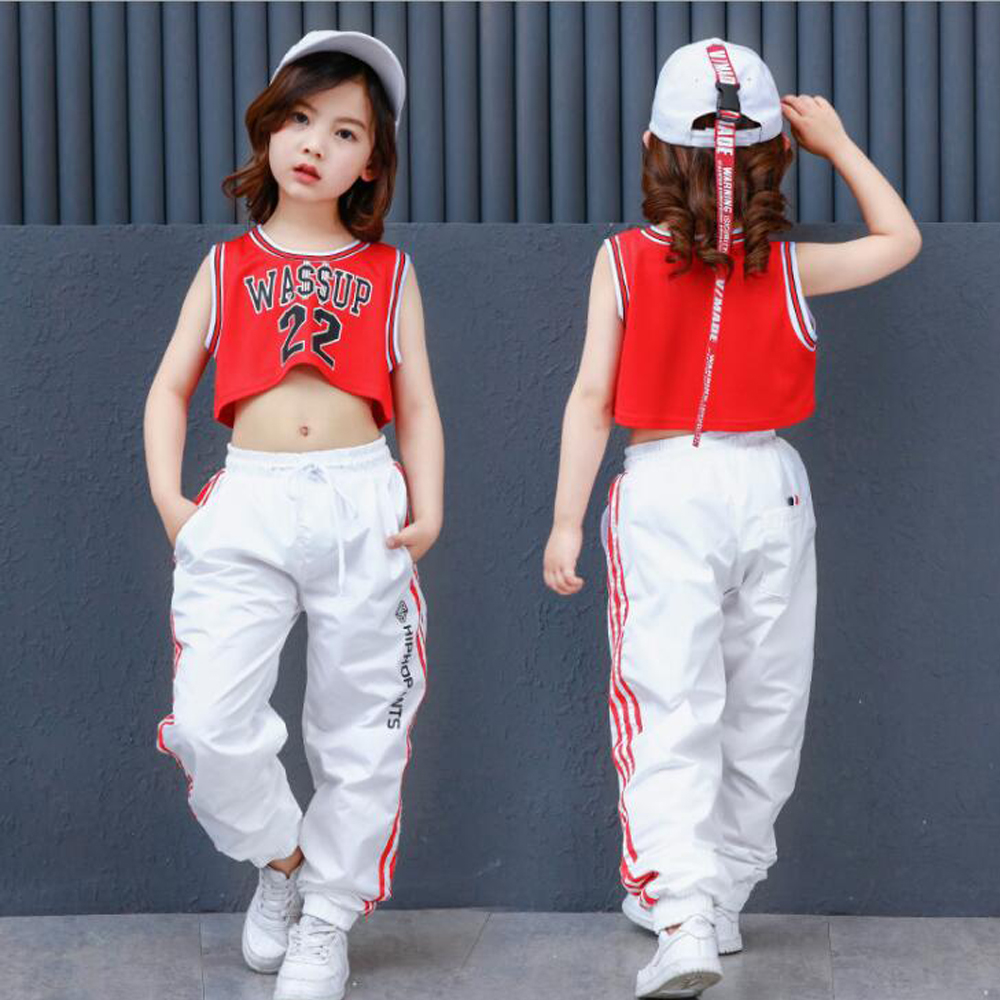 Kids Loose Ballroom Jazz Stage Hip Hop Dance Competition Costume for Girl Performance T Shirt Pants Dancing Clothes Outfits
