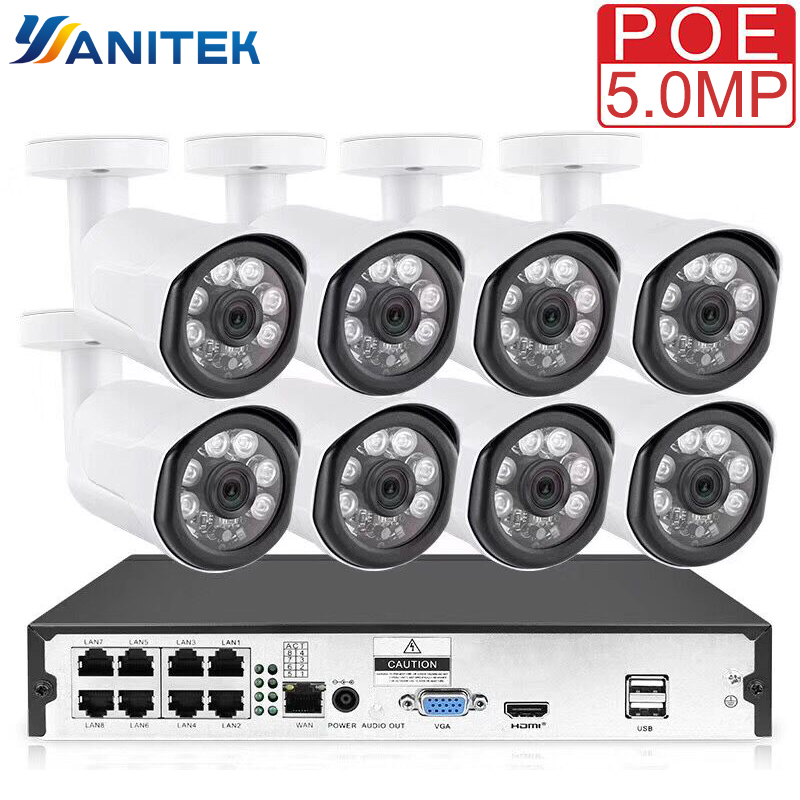 8CH POE System 5MP 4.0MP NVR H.265 Night Vision Outdoor Waterproof Network Camera CCTV Security System Surveillance Kit|Surveillance System| |  -