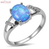 Weinuo Blue Fire Opal Biały Kryształ Pierścień 925 Sterling Silver Top Quality Fancy Biżuteria Wedding Ring Rozmiar 5 6 7 8 9 10 11 A431