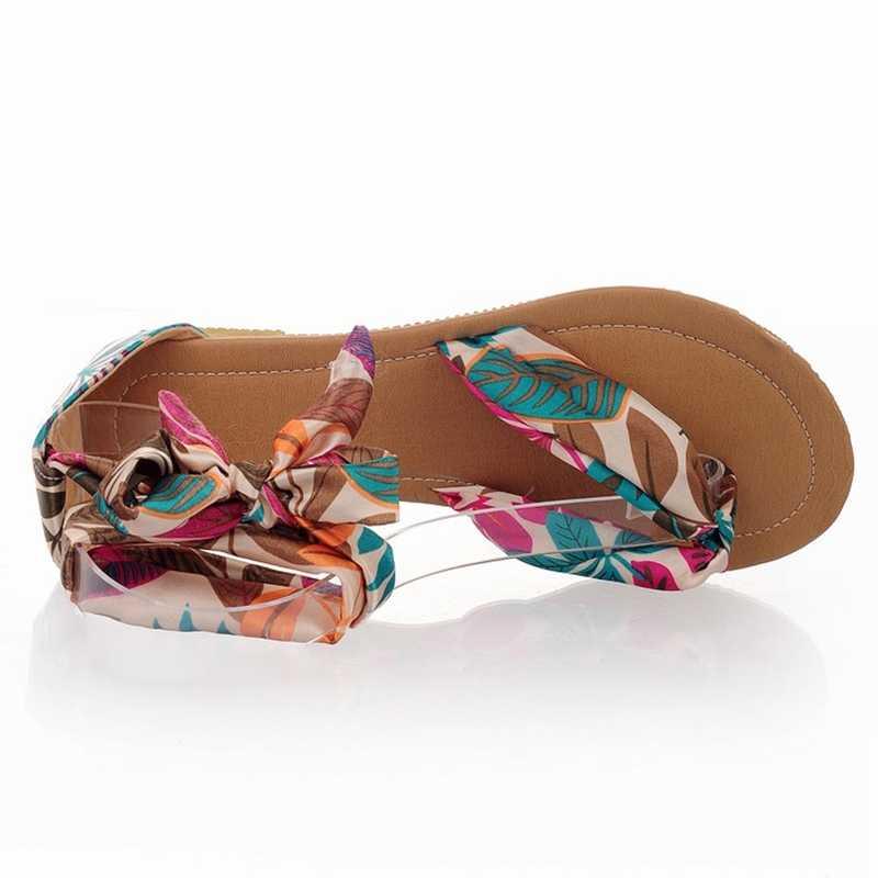 BONJOMARISA 2020 PLUS ขนาด 34-52 ผู้หญิงแบน flip-flop รองเท้าแตะสบายๆดอกไม้พิมพ์สายรัดข้อเท้ารองเท้าส้นสูงรองเท้าผู้หญิง