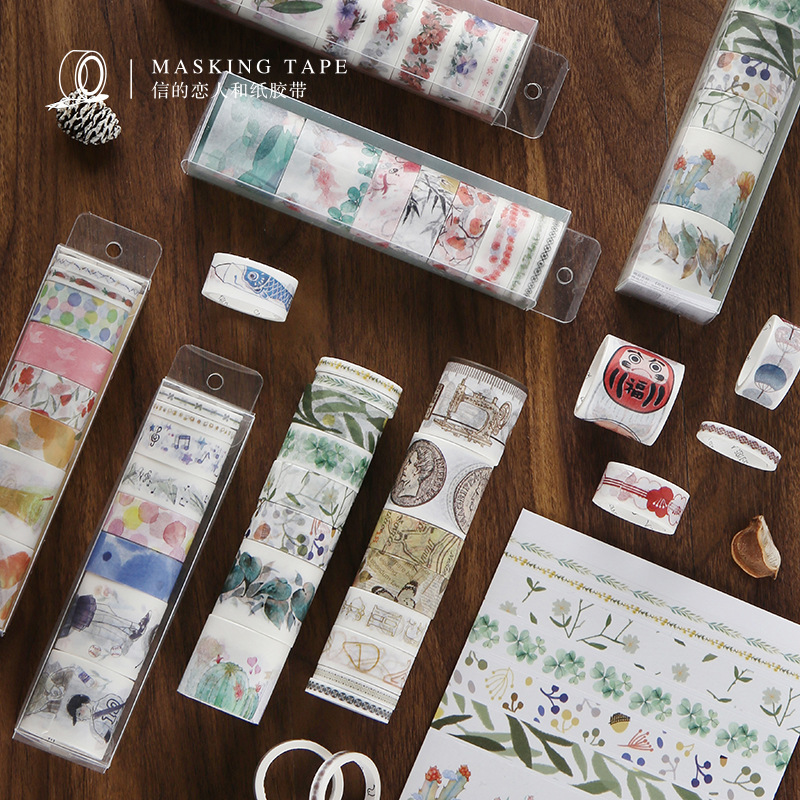 8pcs/boxed Lovely Washi Tape Set Diy Stickers Diary Scrapbook Stationery