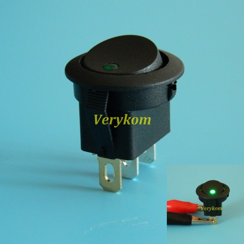 100x Green Color 16A 12V LED Light Car Boat Round Rocker ON OFF SPST Switch 3