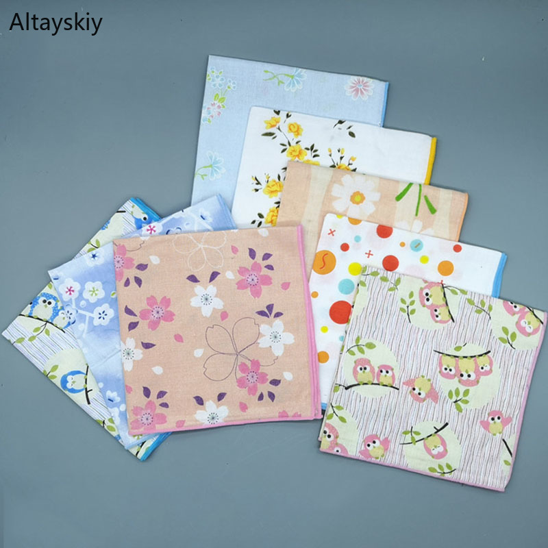 Handkerchiefs Women All-match Lovely Leisure Female Cute Handkerchief Cotton Kawaii Printing Simple Square Towel Pocket Elegant