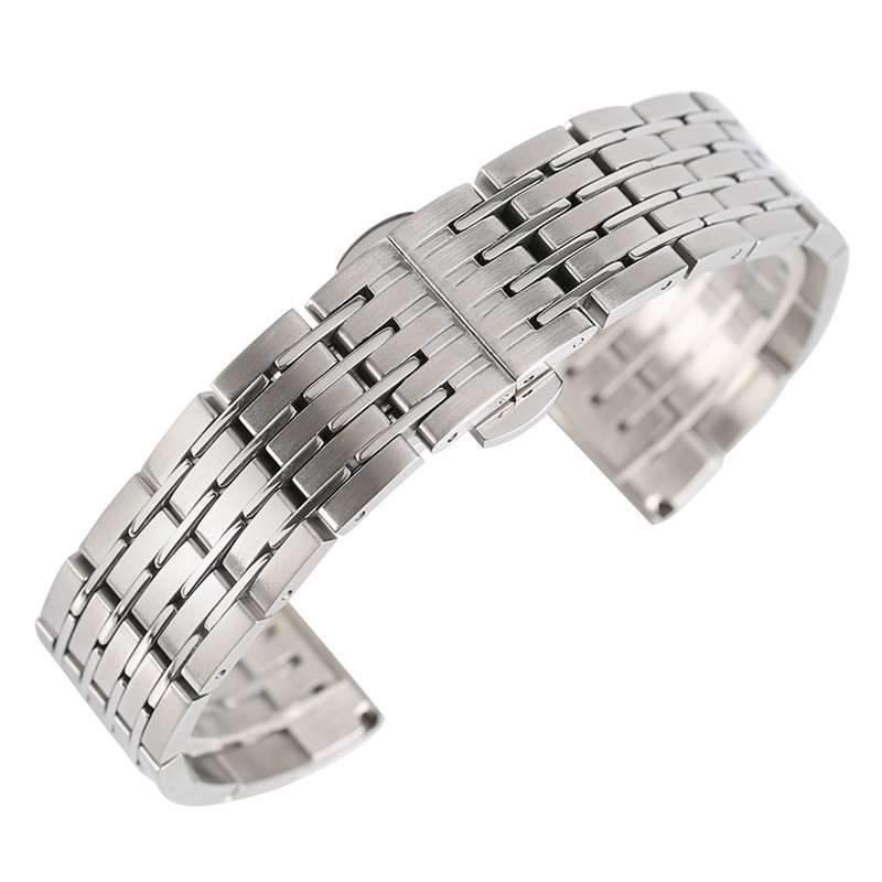 20mm 22mm 24mm Silver Watch Band Solid Link Stainless Steel Watch Strap Men Women Push Button Hidden Bracelet + 2 Spring Bars watch strap bracelet for hours golden and silver color 20mm 22mm 24mm stainless steel watch solid band gd0141