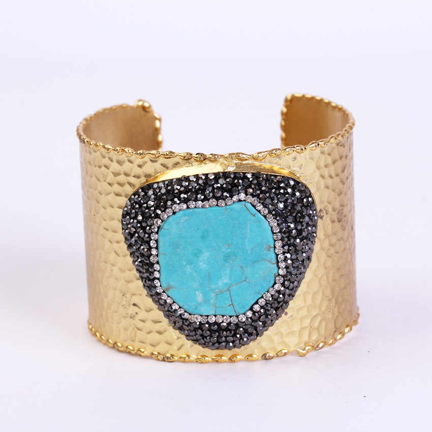 charms blue turquoises pave rhinestone bead adjustable gold color open big wide wrap hammered bracelet bangle cuff for women